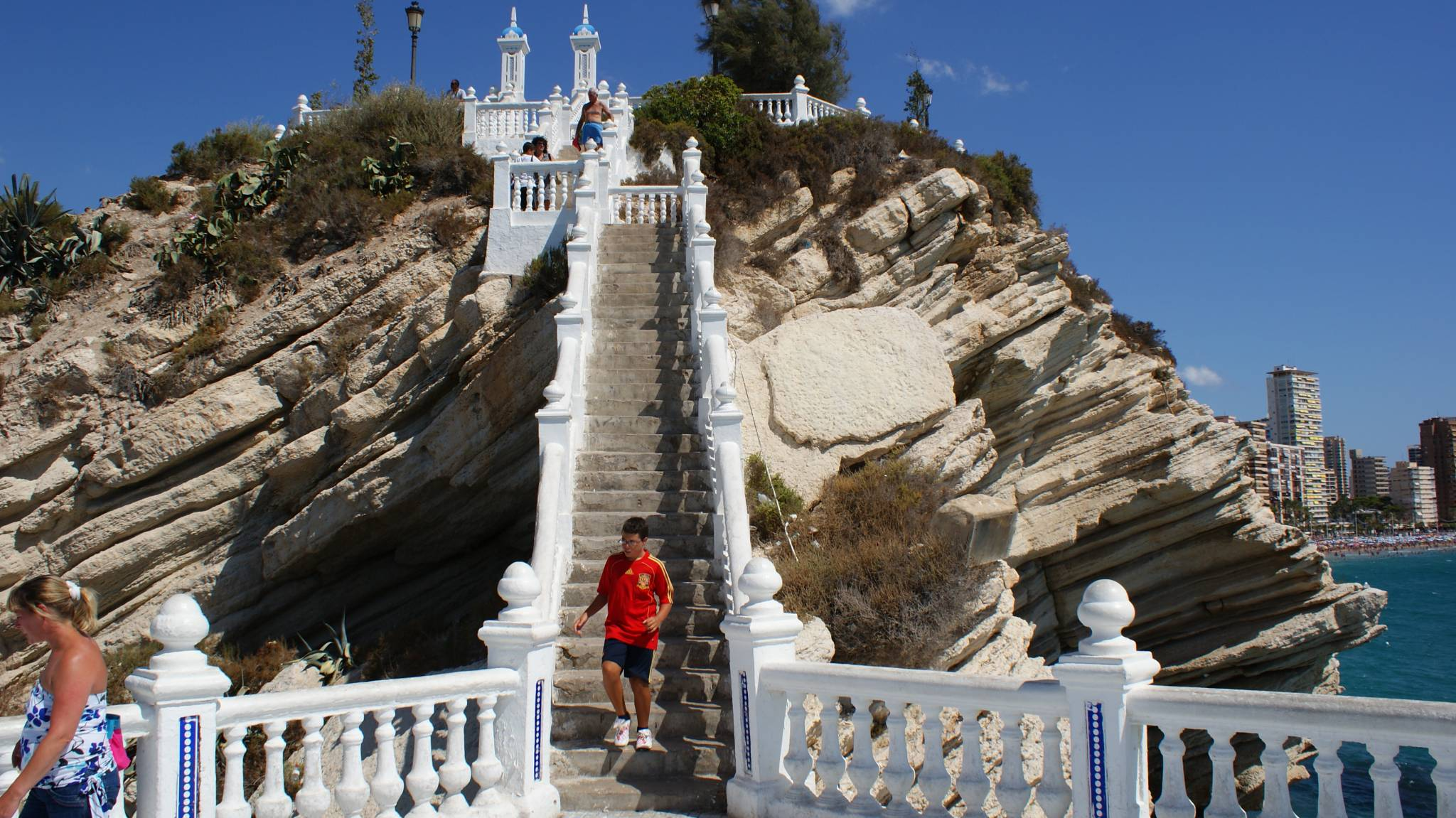 Stairs of the viewpoint between beaches of Benidorm