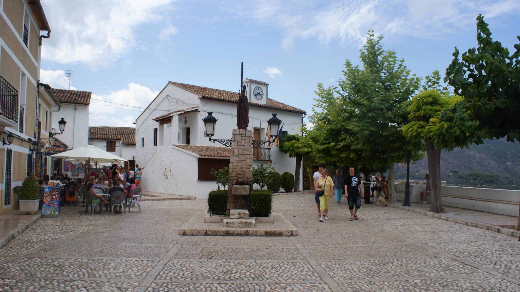 Square with tourists in Guadalest, a village on the Costa Blanca.