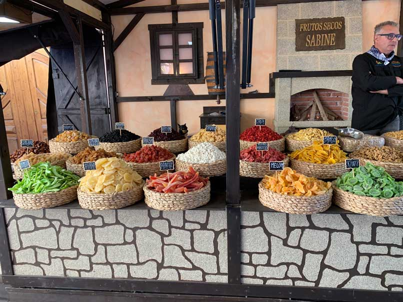 Stall of medieval sweets at the traditional market in Finestrat